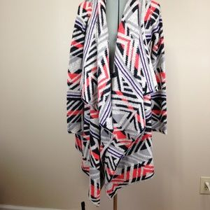 NWT Lucky Brand Aztec Print Open Front Cardigan M